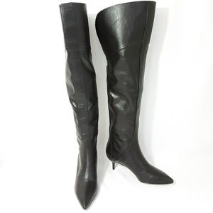 NWOB Nine West Leather Black Zip up Knee boots